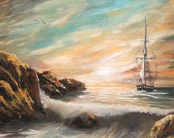 European art oil painting seascape 1998 signed