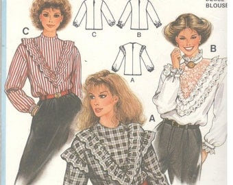 Burda 7732 Size 8, 10, 12, 14, 16 Womens sewing pattern, long sleeve blouse with v-ruffle or lace inset detail, high neckline or round neck