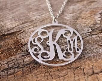 Personalized Circle Monogram Necklace - Custom Initila Monogarm Necklace - Monogram Nameplate with Circle