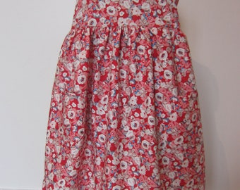 cotton red and white flower girl dress