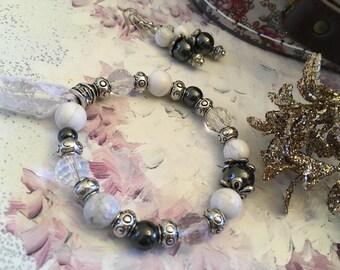set romantic semi-precious howlite and hematite stones