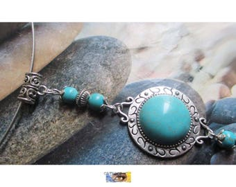 """""""Turquoise beads and turquoise Cabochon"""" steel cable Choker on silver metal"""
