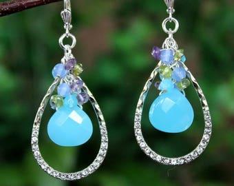Multi Gemstone Cluster Earrings.Tear Drop Dangle.Metal Hoop.Jeweled.Silver.Statement.Chandelier.Bridal.Amethyst.Aqua Blue.Hammered.Handmade.
