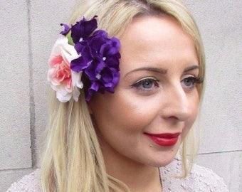 Purple Blush Pink Hydrangea Rose Flower Hair Clip Fascinator Bridesmaid 3303