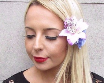 Double Lilac Purple White Rose Orchid Flower Hair Clip Fascinator 1950s 3471