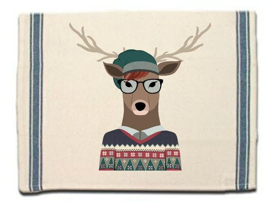 Stag in Sweater Kitchen Towel, Dish Towel, Tea Towel, Flour Sack Material,Woodland Animals Dish Towels,Flour Sack Kitchen Towel, Dish Cloth