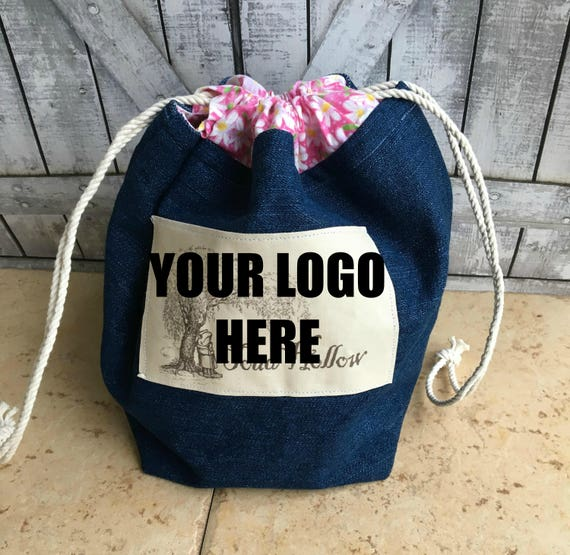 Knitting Project Bag - Custom Logo, Crochet Project bag, Toad Hollow Bag, Crochet Project, Blue Jean Bag,drawstring bag, Knitting Bag