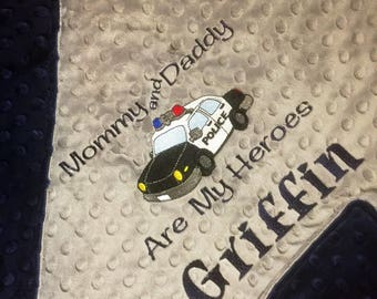 Police Theme Baby Blanket Navy Baby Blanket Police Theme Blanket Daddy's Little Rookie Policeman Blanket Police Baby Blanket Back the Blue