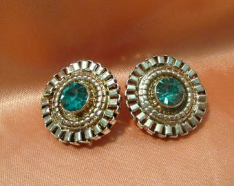Turquoise Crystal Earrings blue gold Tone rhinestone button chain clip on earrings jewelry round blue earrings Jewellery Vintage fashion