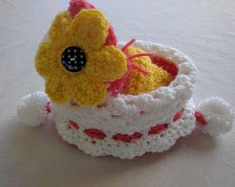Crochet Cradle Purse in Pink and Yellow