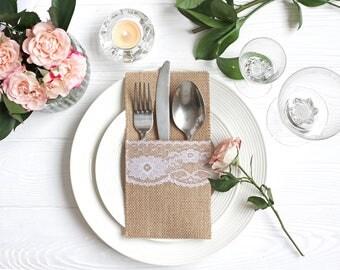 Burlap Silverware Holders, Table Decor, RusticSilverware Holders, Rustic table decor, Wedding Table Set, Burlap table decoration