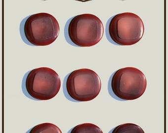 Set of 9 round buttons with red shade plastic 18 mm