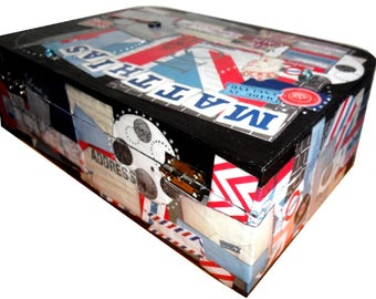 """Wooden suitcase scrappee themed """"London"""" personalized with name"""