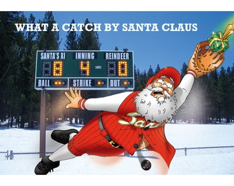 BASEBALL CHRISTMAS CARD - What a catch by Santa Claus! Funny Christmas card