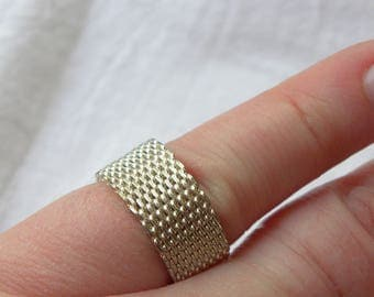 Sterling silver mesh ring, silver ring, vintage sterling silver mesh ring, sterling band ring, vintage silver ring, vintage mesh ring