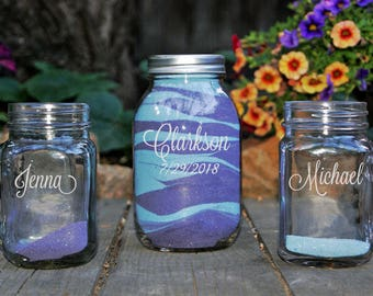 Mason Jar Unity Sand Set, Personalized Sand Ceremony Set, Engraved Rustic Unity Set, Custom Wedding Sand Ceremony, Beach Wedding 70 DESIGNS