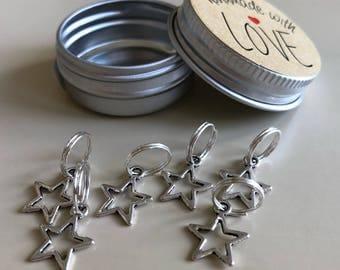 Star Stitch Markers, Set of 6 Stitch Markers, Star Stitch Markers, Snag Free, Knitting Markers, Ring Markers, Crochet Markers, Stitch Marker