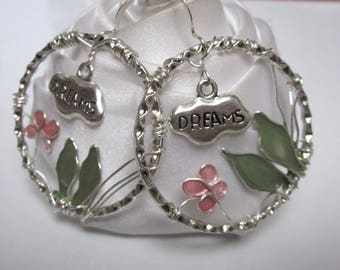 artistic wire earrings butterfly and leaves