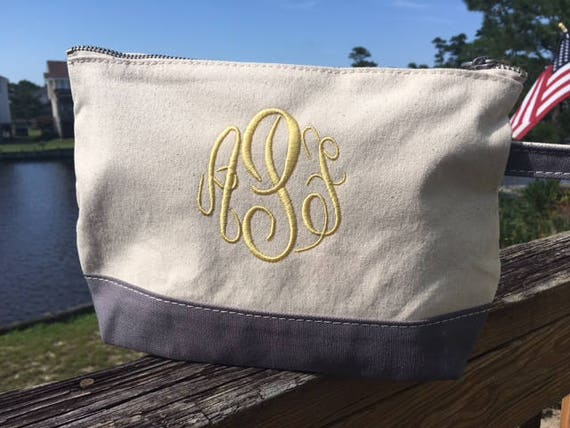 CLOSEOUT Monogrammed Makeup Bag, Canvas Zipper Pouch, Grey Makeup Bag, Personalized Gifts, Bridesmaids Gifts, Mothers Day, Graduation Gifts