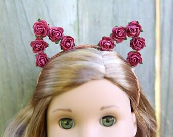 Cat Ears Headband *BURGUNDY* for American Girl Dolls