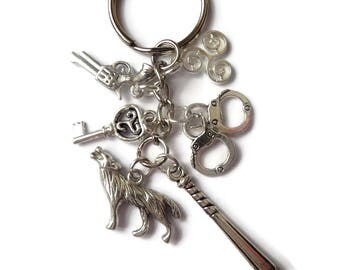 teen wolf fan gift, teen wolf keyring, teen wolf gift, styles gift, wolf gift, charm keyring, wolf keyring, styles gift, mccall gift