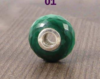 Gemstones by Shininggems - Artisan European charm bead for bracelet - 14x8x3.5mm roundel facet - 925 Silver core - Malachite - SHST6037