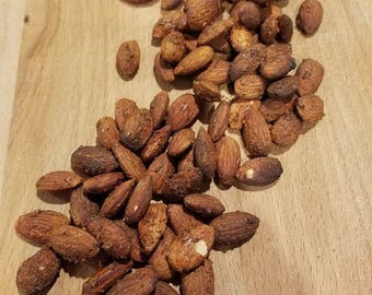 Hickory Smoked Almonds - 1 lb, great snack, memphis rubbed smoked almonds with apple and hickory woods