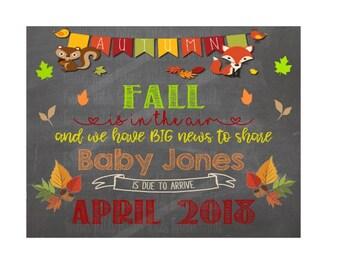 Fall Is in the air pregnancy announcement - Fall Pregnancy Baby Announcement - Chalkboard Photo Prop - Pumpkin - Jpg - PDF
