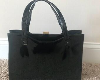 Mid Century Modern Style Hand Bag | Patent Leather Style Ladies Vintage Purse  | Gold Snap Closure Handbag | Black Shiny Handbag  |  Purse