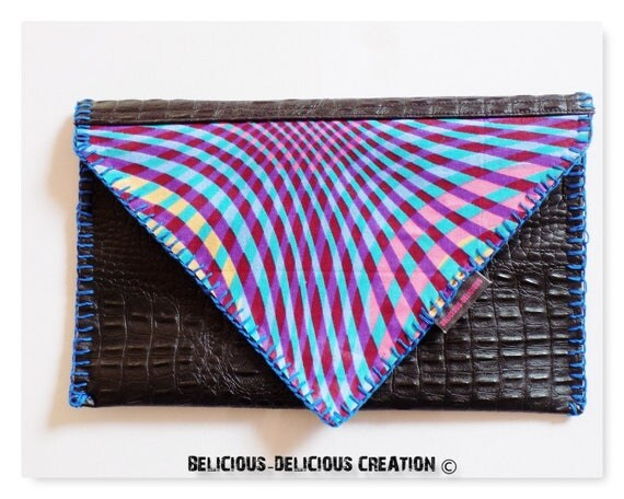 "Original ""Pocket envelope. WAXCROCO! in bi material faux leather fabric wax. Black t 27.5 cm x 18 cm belicious delicious creation"