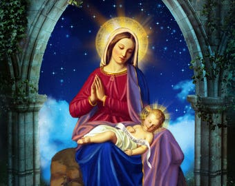 "Sleeping Jesus and Virgin Mary, Catholic Art Print, Virgin Mary print, 8x10"" or 11x14"" art print"