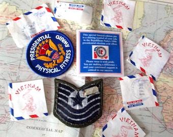 Assortment Military Assortment Badges, Postage, Pins, Vietnam, Mail