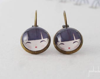 Earrings Kokeshi Japanese doll