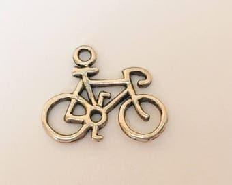 Sterling Silver Bike Charm Pendant, Bicycle Charm