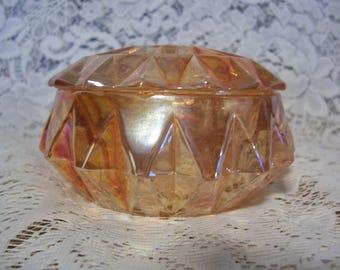 Iridescent Marigold Carnival Glass Powder Puff Jar, Jeanette