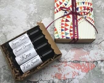 BOTANICAL PERFUME Gift Set , Natural Perfume, Botanical Perfume, Women's Perfume, Rose Perfume, Roll on Perfume