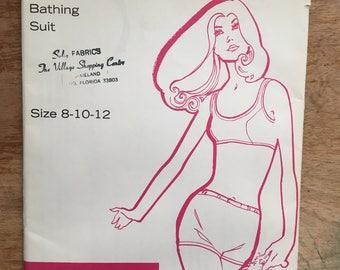 1970 Kandel Knits Two Piece Bathing Suit Racer Sports Top & High-Waisted Boyshorts Bottom Pattern #71 sz 8 10 12