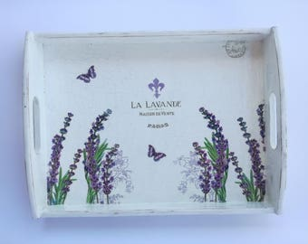 Large White Shabby Chic Lavender Serving Tray With Handles