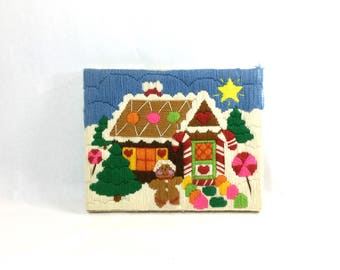 Crewel Embroidery Textile Art Gingerbread House Vintage Holiday Winter Christmas Kitsch Wall Art Mantle Decor Creative Circle 1982
