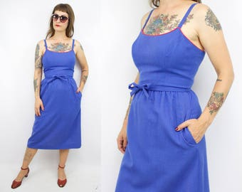 Vintage 70's Blue Sundress / 1970's LANZ Originals Dress / Summer / Pockets / Women's Size Small