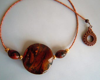 Large Jasper beads with copper Choker.