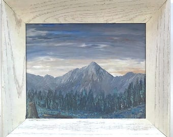 Vintage Signed Original Oil Painting Landscape With Mountain & Pine Trees By Wofford