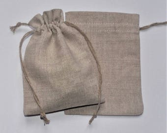 "10 Natural Linen Bags * Rustic Wedding Favor * Linen Gift Bags * Linen Favor Bags * Gift Pouches * 3.5"" x 5"" (9cm x 13cm)"