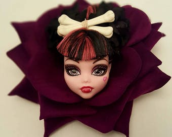 Purple vampire crossed bones  monster high doll head in black rose fascinator