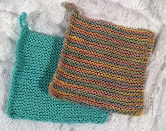 Set of 2 hand knitted wahcloths