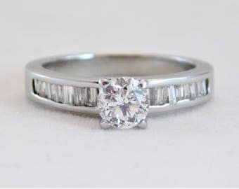 Ladies 14k White Gold 1ct Diamond Engagement Ring