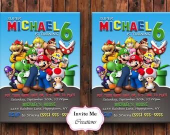Super Mario Invitation, Super Mario Brothers Invite, Super Mario Birthday, Luigi Invitation, Yoshi Invitation, Birthday Invitation, Digital