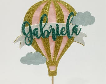 Personalized hot air balloon cake topper, hot air balloon cake topper, baby girl topper, first birthday cake topper, Baby shower cake topper