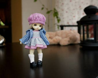 Hand knitting: Set for Lati White SP (12 cm) - dress, jacket, cap