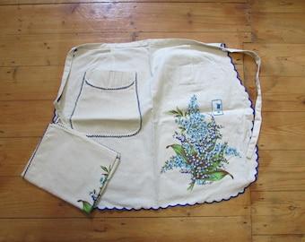 Vintage old stock Joseph Italian Linen half apron & tea towel duo, forget-me-not/bluebells design